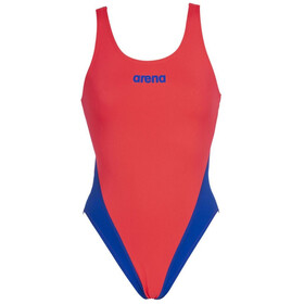 arena Solid Swim Tech High One Piece Swimsuit Dames, rood/blauw